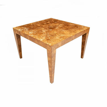 Vintage Post Modern Burled Olive Wood Alligatored Patchwork Parsons Table by LynxHollowAntiques