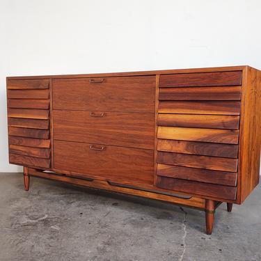 Walnut 'Dania' Lowboy Dresser by American of Martinsville by IridiumInteriors