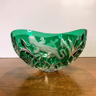 Vintage Ajka Crystal Design Guild Signed Magda Nemeth Cut to Green Lizard Bowl by OverTheYearsFinds