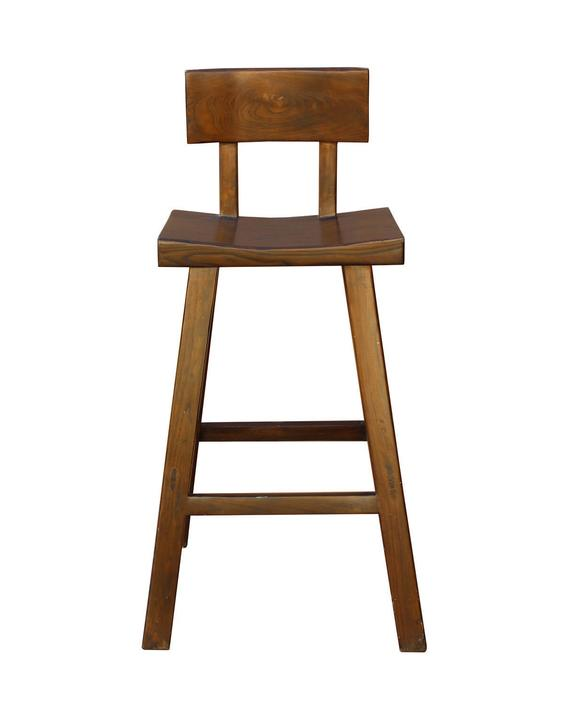 Quality Handmade Solid Wood Brown Color Tall A Shape Bar Stool With Back n167E by GoldenLotusAntiques