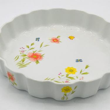 Vintage Andrea by Sadek Country Flowers Quiche Plate- Nice Clean Condition by JoAnntiques