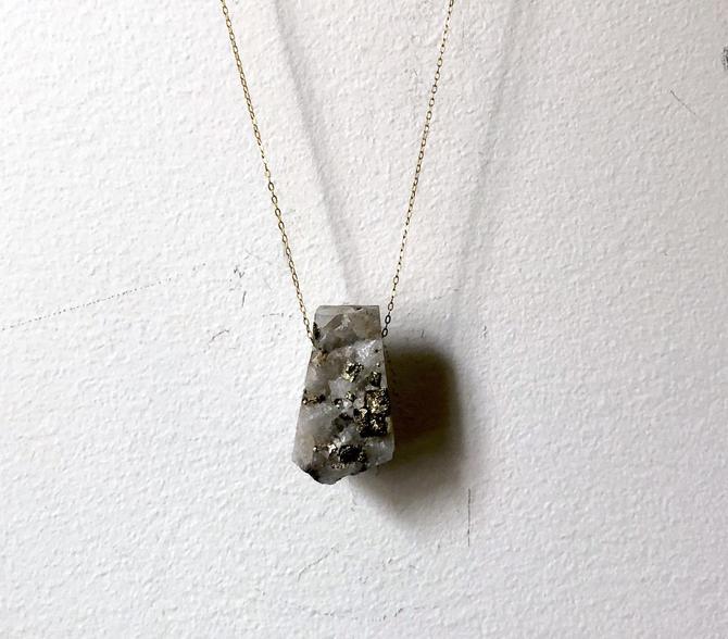 Free Floating Geometric Iron Pyrite Crystal Necklace by RachelPfefferDesigns