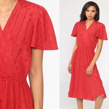 Red Wrap Dress 80s Liz Claiborne Secretary High Waisted Midi Puff Flutter Sleeve Polka Dot Deep V Neck Boho 1980s Vintage Medium 8 by ShopExile