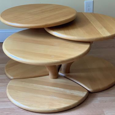 Niels Bach model # 53 Danish solid OAK cluster tables coffee tables side tables set of three by ASISisNOTgoodENOUGH