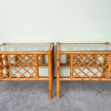 Pair of Ficks Reed Rattan End Tables