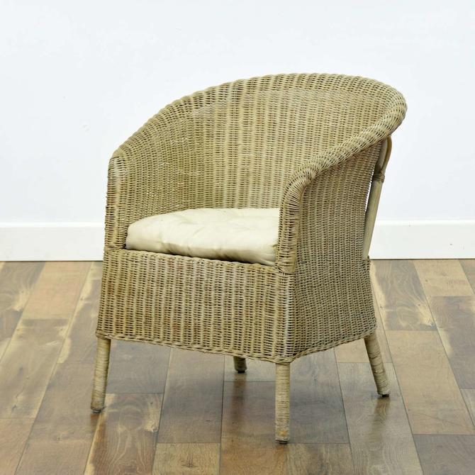 Wicker Chair Barrel Back Armchair
