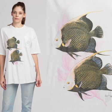 90s Guy Harvey Fish T Shirt - Men's XL | Vintage White Graphic Fishing Pocket Tee by FlyingAppleVintage