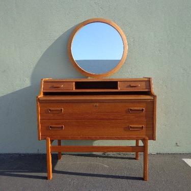 Desk Mid Century Modern Danish Vanity MCM Wood Storage Home Office Writing Vintage Furniture Midcentury Makeup Table Mirror Secretary by DejaVuDecors