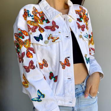 80's ESCADA Colorful Butterflies White Denim Jacket by VintageRosemond