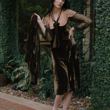 RARE 1920s French panne velvet lace Art Deco dress and jacket set by DevoreVintage