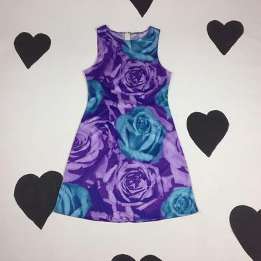 90's blue rose silky picture print cyber mini dress 1990's y2k raver sheath dress purple nylon polyester psychedelic floral acid sun dress M by verybestvintage