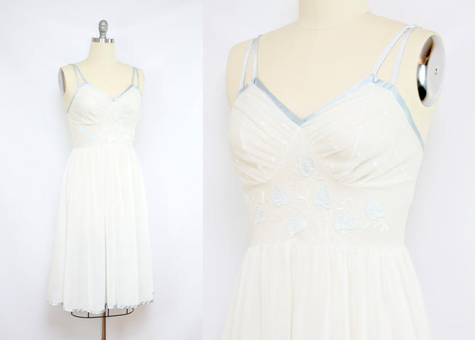Vintage 50's 60's Blue Ivy Slip / 1960's Nightgown Lingerie / White and Blue Lingerie / Women's Size Small - Medium by RubyThreadsVintage
