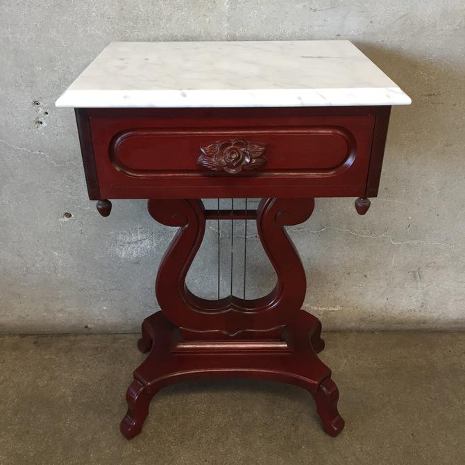 Vintage Marble Top Side Table with Drawer