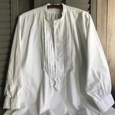Antique French Mens Dress Shirt, White Cotton, Edwardian Era, Monogram, Period Clothing by JansVintageStuff