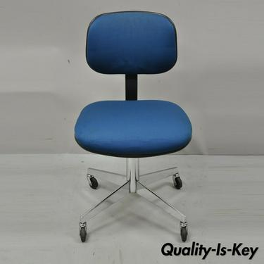 Vintage Steelcase 1984 Blue Rolling Office Chrome Base Computer Desk Chair