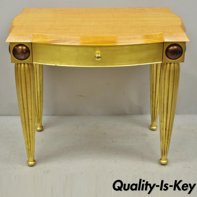 Italian Hollywood Regency Curly Maple Gold Gilt Leaf 1 Drawer Console Hall Table