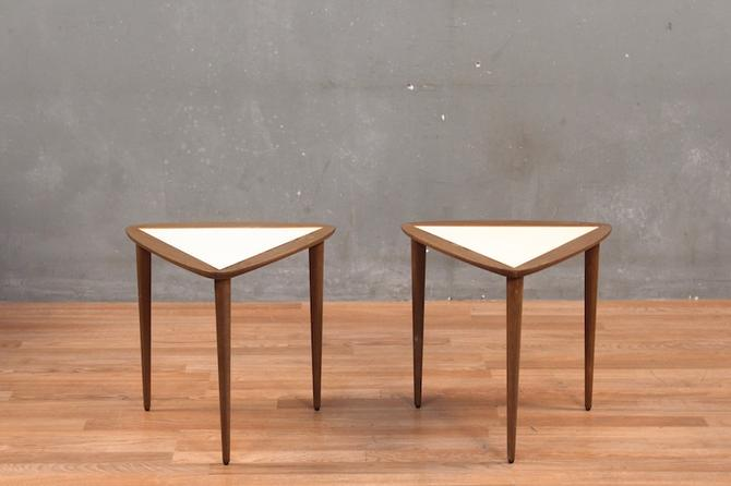 Pair of Triangular Wood & Laminate Stacking Tables