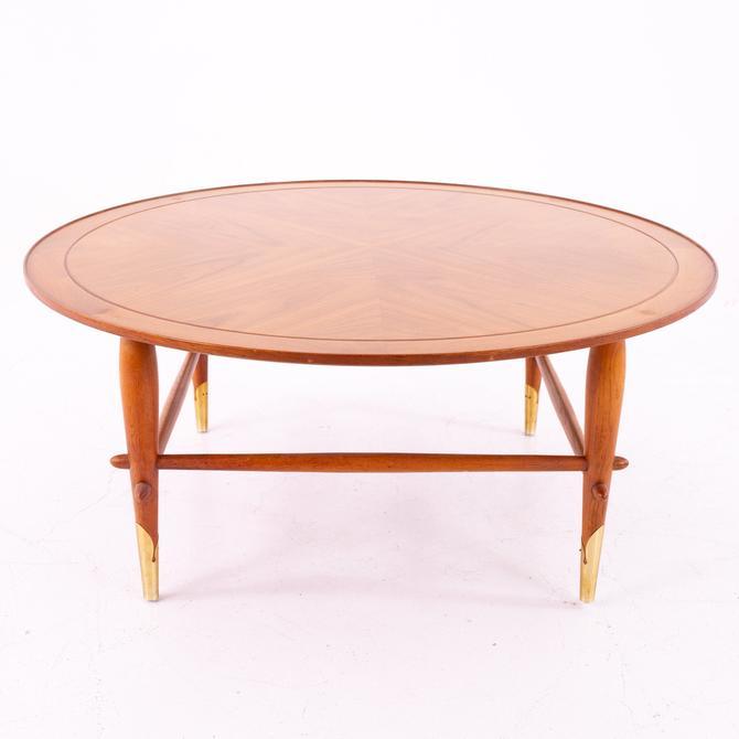 Lane Copenhagen Walnut and Brass Mid Century Round Coffee Table by ModernHill