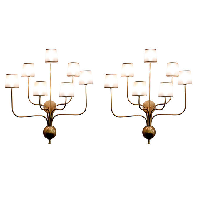 Pair of Large Brass Sconces in the Manner of Jean Royere 1990s - SOLD