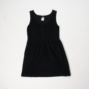 Rudbeckia Dress — vintage sundress / 90s black French terry cotton tank mini dress / minimalist sleeveless summer midi dress with pockets by fieldery