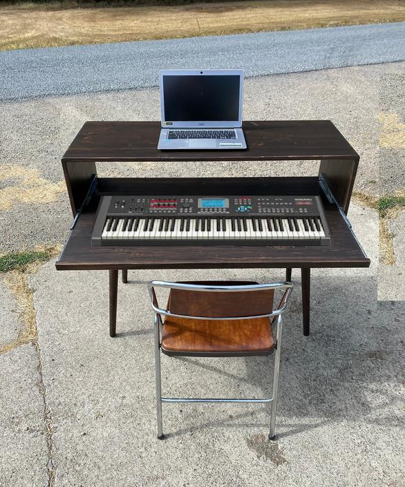 Mid Century Keyboard Stand Pull Out Tray by OrWaDesigns