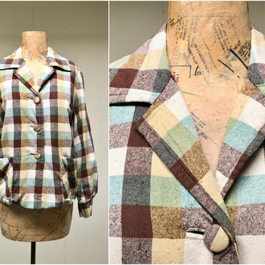 Vintage 1950s Plaid Raw Silk Jacket, 50s Custom Tailored 49er Style Casual Jacket, Lightweight Fall Coat, Medium 38 Bust by RanchQueenVintage