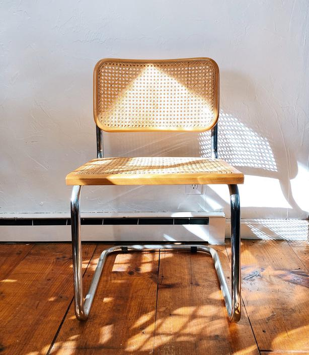 Marcel Breuer Style Cesca Cantilever Chrome and Cane Chair, Beechwood, Chrome Arm Chair, Chrome Cane Chair,, Made in Italy by VintageandSwoon