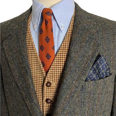 Vintage HARRIS TWEED 100% Wool Blazer ~ 44 to 46 Long ~ Herringbone ~ jacket / sack coat ~ Preppy / Ivy / Trad by SparrowsAndWolves