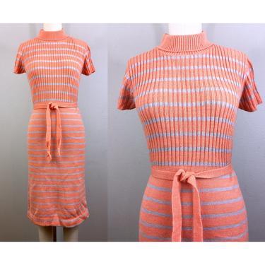 Vintage 60s Mod Stripe Sweater Dress Creamsicle Peach Gray Turtleneck 1960s Body Con Pencil Knit Sweaterdress XS/S by FlashbackATX