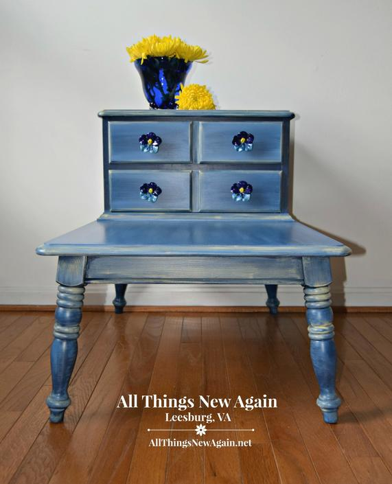 Blue Accent Table With Flower S And Storage Yellow Side Two Level Mid Century Step Bedside End By
