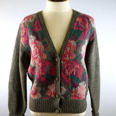 Gray and Pink Rose Floral Cardigan Sweater by citybone