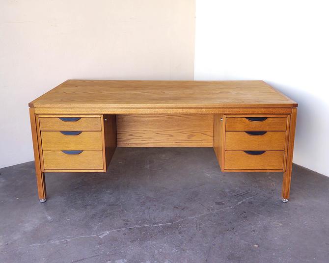 Vintage Oak Wood Executive Desk Risom by IridiumInteriors