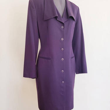 90s Tahari Purple Wool Long Blazer Coat / 1990s Fitted Long Button Down Fitted Jacket Ultraviolet / M  / Jacquette by RareJuleVintage