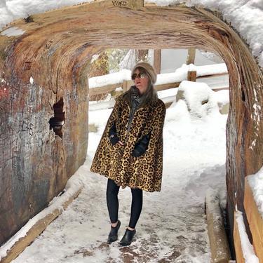 1960s Leopard Coat- 60s Faux Fur Cape- Animal Print Jacket by LoveItShop