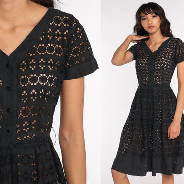 Black Lace Dress Party Mad Men 1960s Eyelet Cotton Lace Tea Length 50s Day Full Skirt Cocktail Midi High Waisted 60s Formal Small xs s by ShopExile