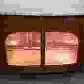 Item #DP2 French Deco Mahogany & Burl Walnut Console / Bar Cabinet c.1920s