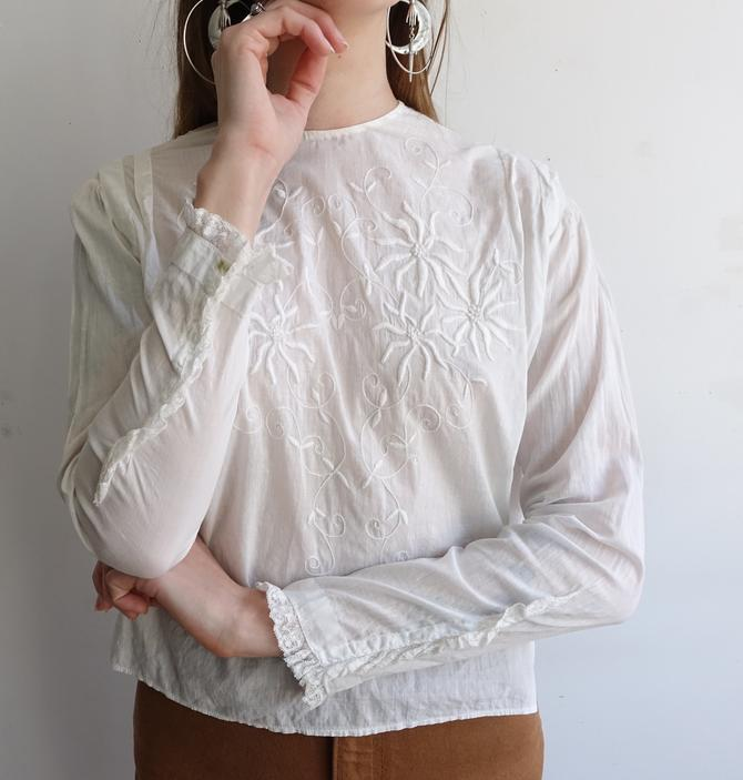 Antique Edwardian Embroidered Blouse/ 1900s 1910s White Cotton Long Sleeve Blouse/ Size Small by bottleofbread
