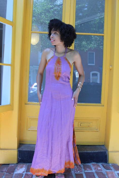 1960s 1970s Linen Tie Dye Halter Neck Style Maxi Dress with Side Slits by KeepersVintage