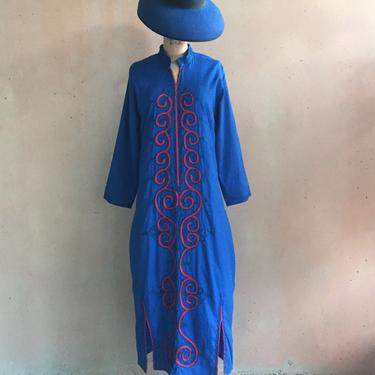 Vintage 100% Egyptian Cotton Asian Inspired Caftan Tunic Dress by LucileVintage