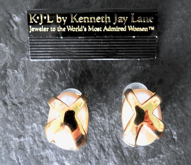 KJL Unworn Modernist Faux Pearl Earrings NWT by LegendaryBeast