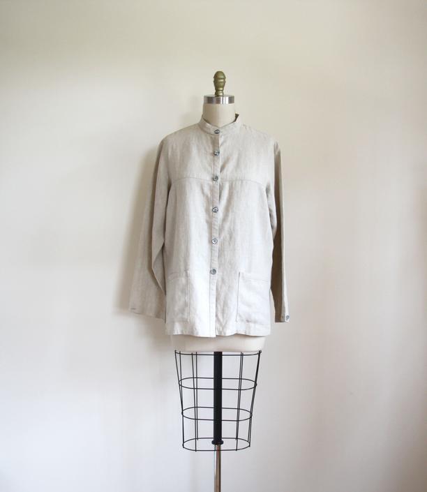 f4c0e9b0fe Vintage beige linen shirt jacket