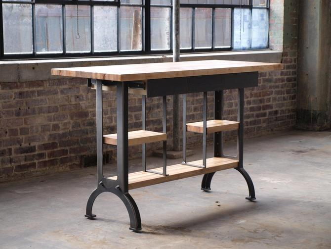 Maple Modern Industrial kitchen island metal machine base table by  CamposIronWorks