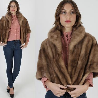 Fur Back Collar Mink Stole / Vintage 60s Mink Fur Shawl / Mother Of The Bride Wrap / Natural Bridesmaids Wedding Cape Shrug by americanarchive