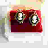 1930s Celluloid on Glass Cameo Earrings on New Wires by LegendaryBeast