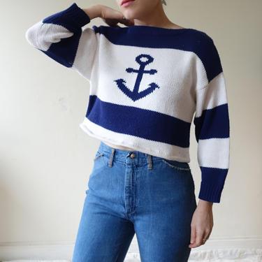 Vintage 80s Cropped Anchor Sweater/ 1980s Jantzen Blue White Striped Nautical Sailor Knit Top/ Size M L by bottleofbread