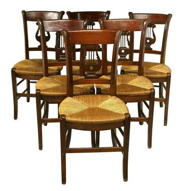 Chairs, Dining, French Lyre, (6) Six Back Rush Seat, Vintage, Fruitwood Finish!