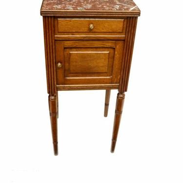 Antique French Louis XVI Style Oak Cabinet Rouge Marble Top Nightstand Table by LynxHollowAntiques