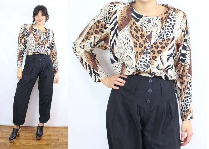 Vintage 90's Black and Brown Animal Print Rayon Jumpsuit and BELT / 1980's 1990's Animal Print Jumpsuit / Women's Size Medium - Large by RubyThreadsVintage