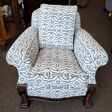 Item #DMC11a Vintage Oak Framed Upholstered Accent Chair c.1920