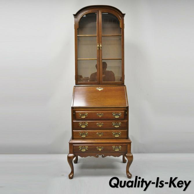Vintage Maddox Queen Anne Cherry Small Secretary Desk Display Curio Bookcase